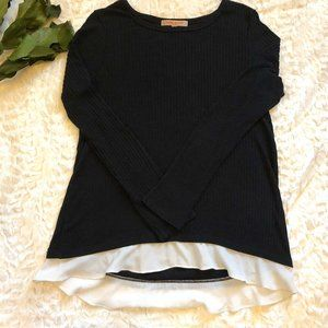 3/$18 Black Lightweight Sweater with Organza Trim